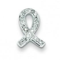 Diamond Awareness Ribbon Pendant in Sterling Silver