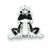Black Diamond Frog Prince Pendant in Sterling Silver