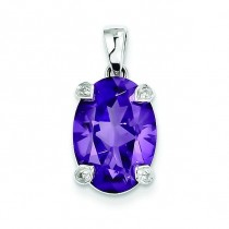Amethyst Diamond Pendant in Sterling Silver