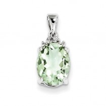Green Amethyst Diamond Pendant in Sterling Silver