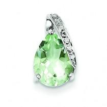 Pear Green Amethyst Pendant in Sterling Silver