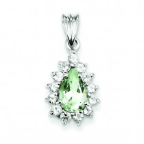 Green Amethyst Pendant in Sterling Silver