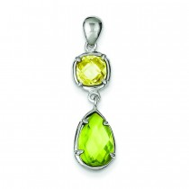 Light Green CZ Pendant in Sterling Silver