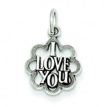 I Love You Charm in 14k White Gold