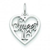 Sweet Heart Charm in 14k White Gold