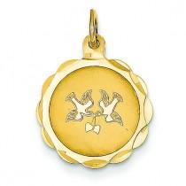 Love Birds Disc Charm in 14k Yellow Gold