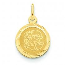 Happy Birthday Disc Charm in 14k Yellow Gold