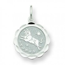Engraveable Taurus Zodiac Scalloped Disc Char in 14k White Gold