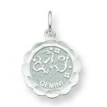 Engraveable Gemini Zodiac Scalloped Disc Char in 14k White Gold