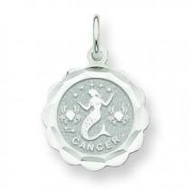 Engraveable Cancer Zodiac Scalloped Disc Char in 14k White Gold