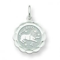Engraveable Leo Zodiac Scalloped Disc Charm in 14k White Gold
