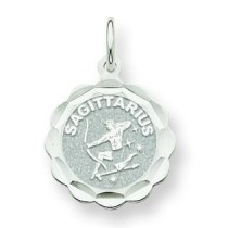 Engraveable Sagittarius Zodiac Scalloped Disc in 14k White Gold