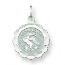 Engraveable Capricorn Zodiac Scalloped Disc C in 14k White Gold