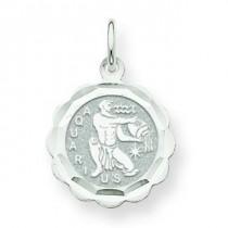 Engraveable Aquarius Zodiac Scalloped Disc Ch in 14k White Gold
