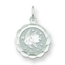 Engraveable Pisces Zodiac Scalloped Disc Char in 14k White Gold