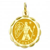 Engraveable Scorpio Zodiac Scalloped Disc Charm in 14k Yellow Gold