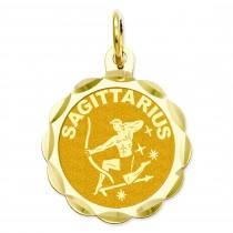 Engraveable Sagittarius Zodiac Scalloped Disc Charm in 14k Yellow Gold