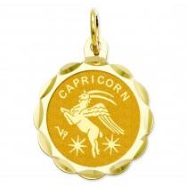 Engraveable Capricorn Zodiac Scalloped Disc Charm in 14k Yellow Gold