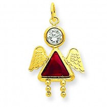 January Girl Angel Birthstone Charm in 14k Yellow Gold