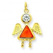 November Girl Angel Birthstone Charm in 14k Yellow Gold
