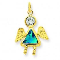 December Girl Angel Birthstone Charm in 14k Yellow Gold