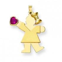 Girl CZ July Birthstone Charm in 14k Yellow Gold