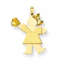 Girl CZ November Birthstone Charm in 14k Yellow Gold