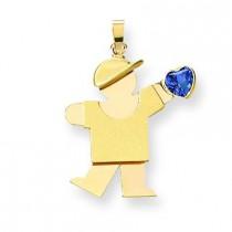 Boy CZ December Birthstone Charm in 14k Yellow Gold