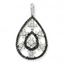 Black White Diamond Pendant in 14k White Gold