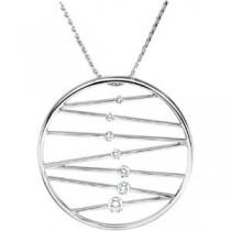 Journey Diamond Pendant Wheat Chain in 14k White Gold (0.5 Ct. tw.) (0.5 Ct. tw.)