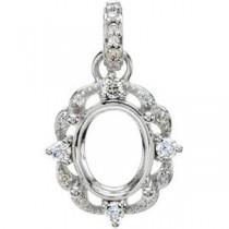 Diamond Semi Mount Pendant in Sterling Silver