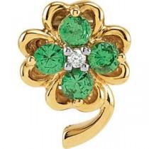 Genuine Tsavorite Garnet Diamond Clover Pendant in 14k Yellow Gold (0.015 Ct. tw.)