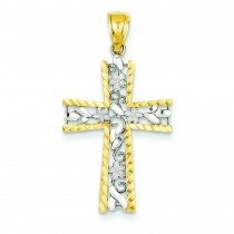 Flower Design Cross in 14k Yellow Gold