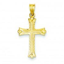 Fleur De Lis Hollow Cross in 14k Yellow Gold