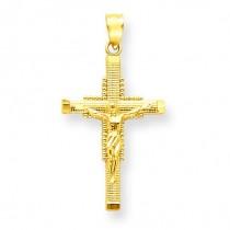 Diamond Cut Crucifix in 14k Yellow Gold