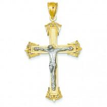Crucifix Pendant in 14k Two-tone Gold