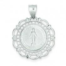 Blessed Mary Medal in 14k White Gold