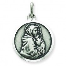 Madonna Child Medal in Sterling Silver