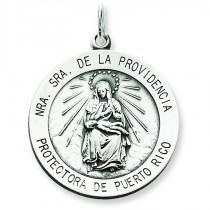 Antiqued De La Providencia Medal in Sterling Silver