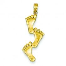 Triple Vertical Feet Pendant in 14k Yellow Gold