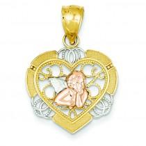 Angel In Heart Pendant in 14k Yellow Gold