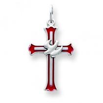 Enameled Dove Cross in Sterling Silver