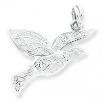 Filigree Holy Spirit Charm in Sterling Silver