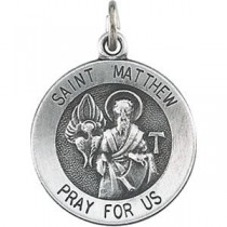 St Matthew Medal 18 Inch Chain in Sterling Silver