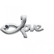 Sapphire Love Pendant in Sterling Silver