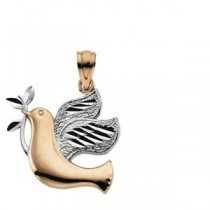 Peace Dove Pendant in 14k Two-tone Gold