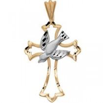 Dove Cross in 14k Two-tone Gold