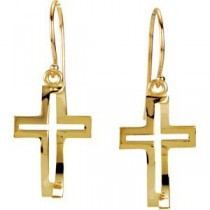CrossFish&trade Earrings in 14k Yellow Gold