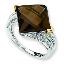 Whiskey Quartz Diamond Ring