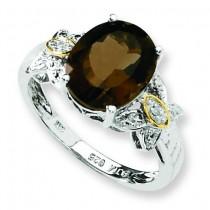 Smokey Quartz Diamond Ring